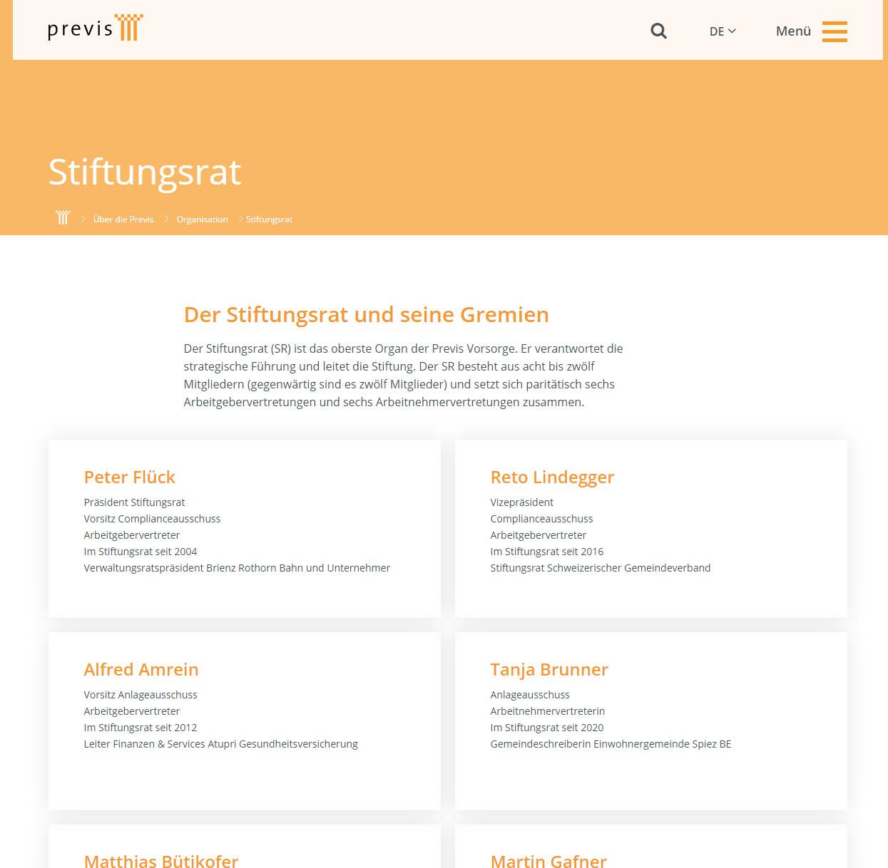 Screenshot Previs Pensionskasse Stiftungsrat Peter Flück Reto Lindegger